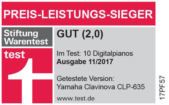 E-Piano Yamaha CLP-635 Preis-Leistungs-Sieger bei Stiftung Warentest (11/2017)