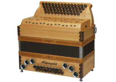 Steirische Harmonika Alpengold Stubach Premium Natur - Rüster (Holzverdeck)