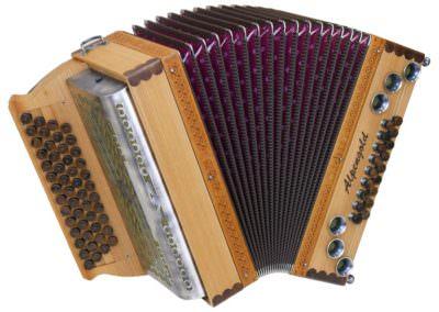 Steirische Harmonika Alpengold Stubach Premium Natur - Rüster (Metallverdeck)