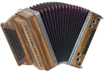Steirische Harmonika Alpengold Tirol 2 Nuss - mit Balgfaschen